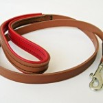 Tan and Red Leather dog lead