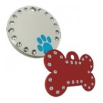 diamante dog id tag