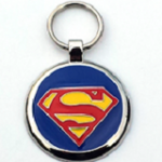 Large Blue Super dog identification tag