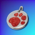 shiny paw glitter dog tag