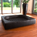 leather cube dog bed