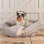 bone linen dog bed