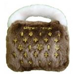 Brown Chewy Vuiton Purse Designer Dog Toy